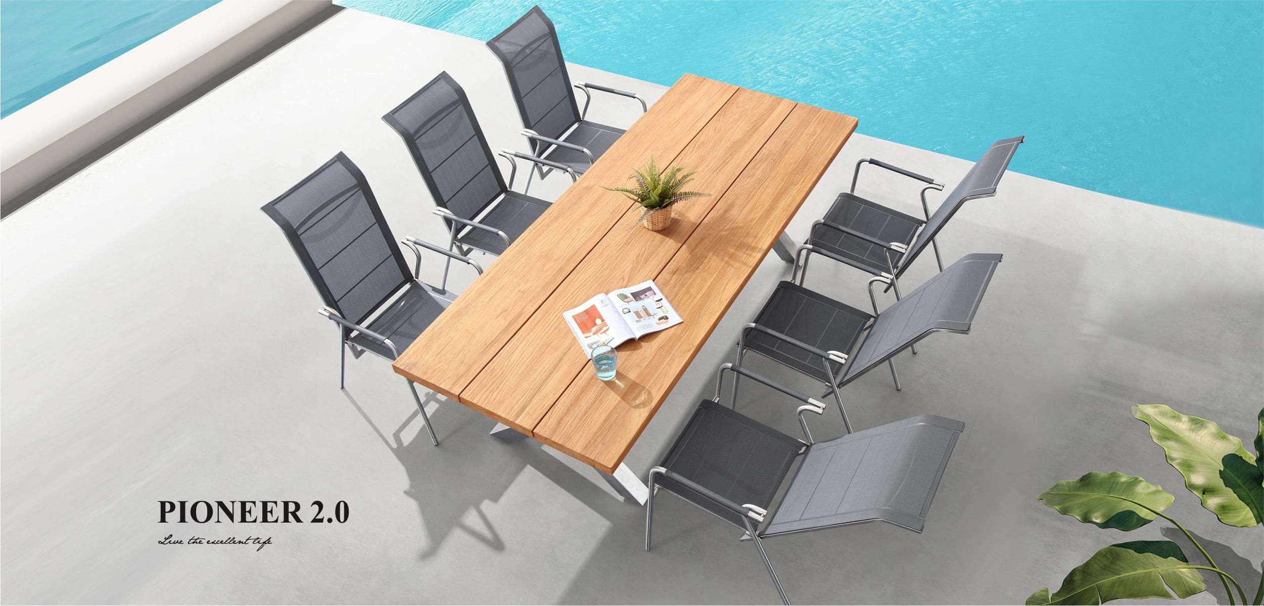 Pioneer 2.0 Dining Set Teakwood Tabletop 8142110