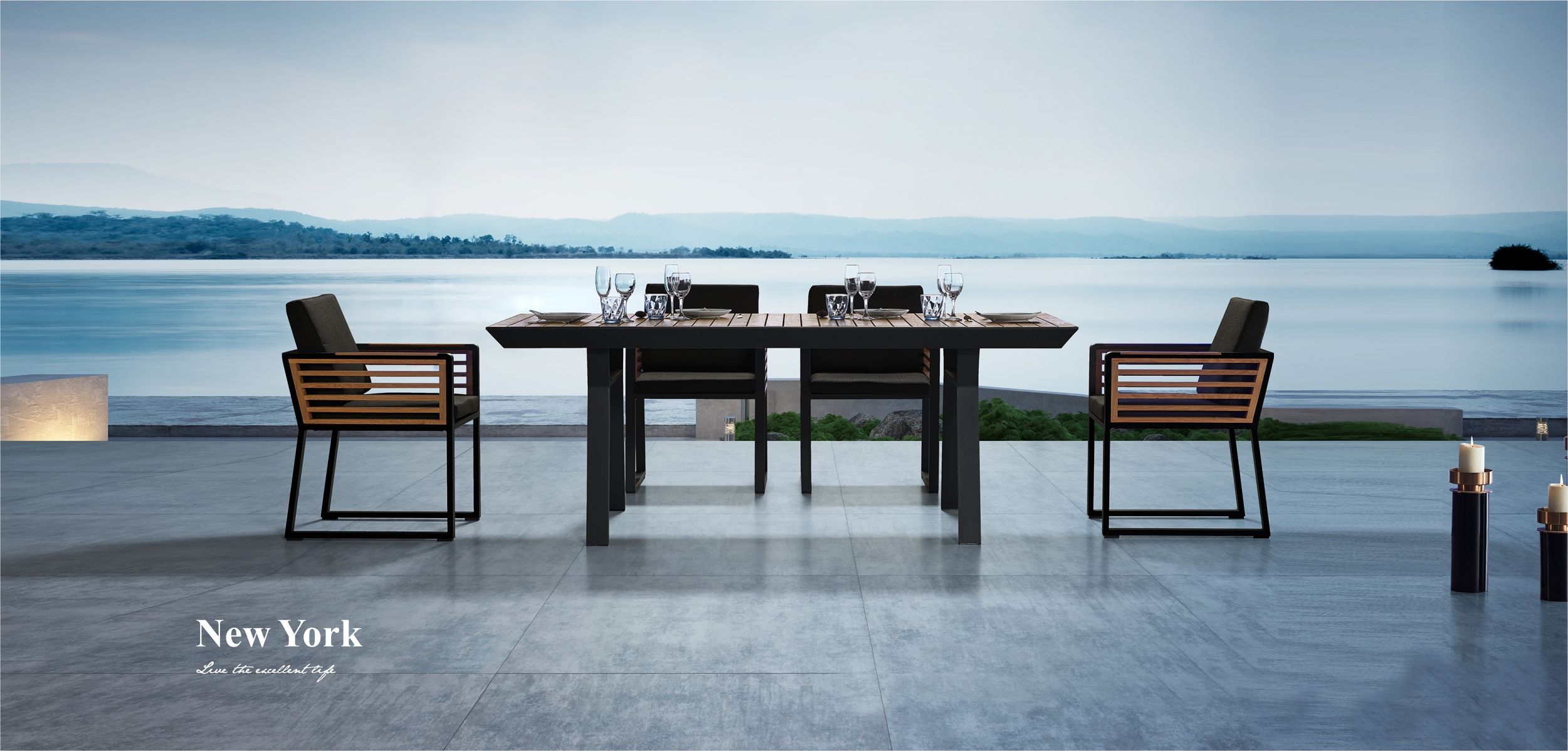 New York Teak Wood Dining Set 204050