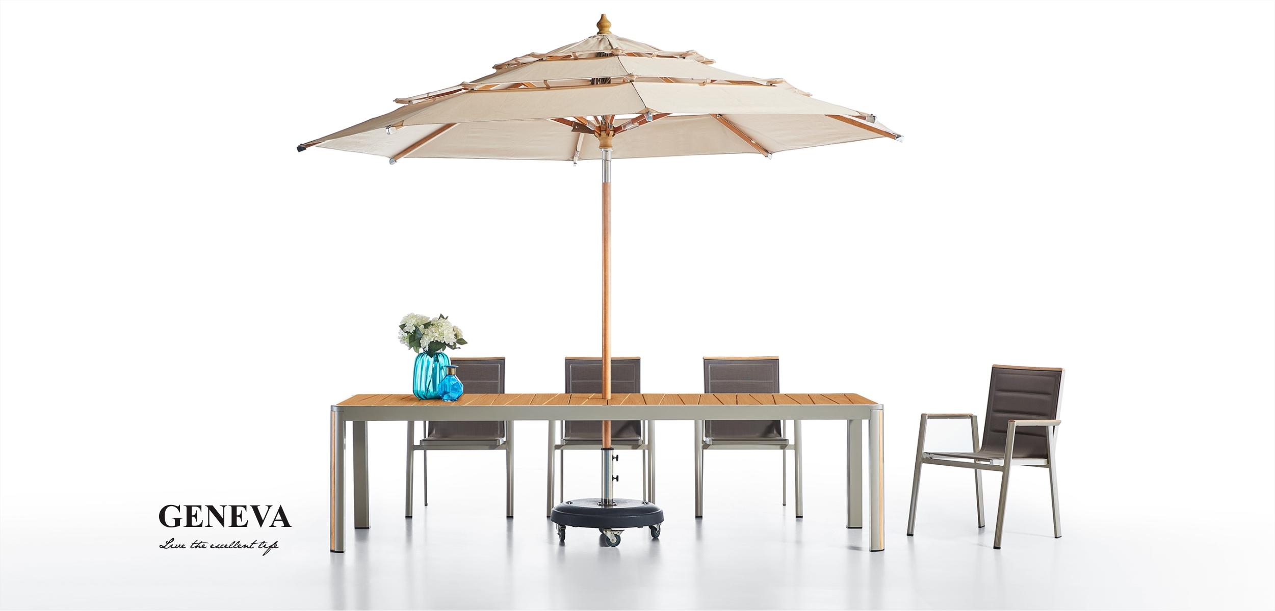 Geneva Teakwood Dining Set with Umbrella Hole 203160